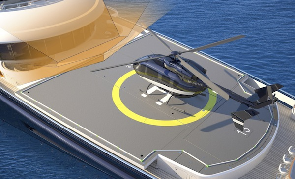 Superyacht helipad design. Certified Commercial Heli Pad aboard your yacht.