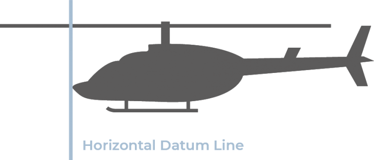 Side-view silhouette of a helicopter with a blue datum line at the nose.