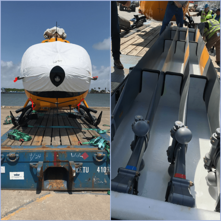 2 images - left: from view of an H145 helicopter with white protective covers, resting on a dolly prior to shipping. right: 4 colour-coded helicopter blades resting in blade box for storage during shipping.