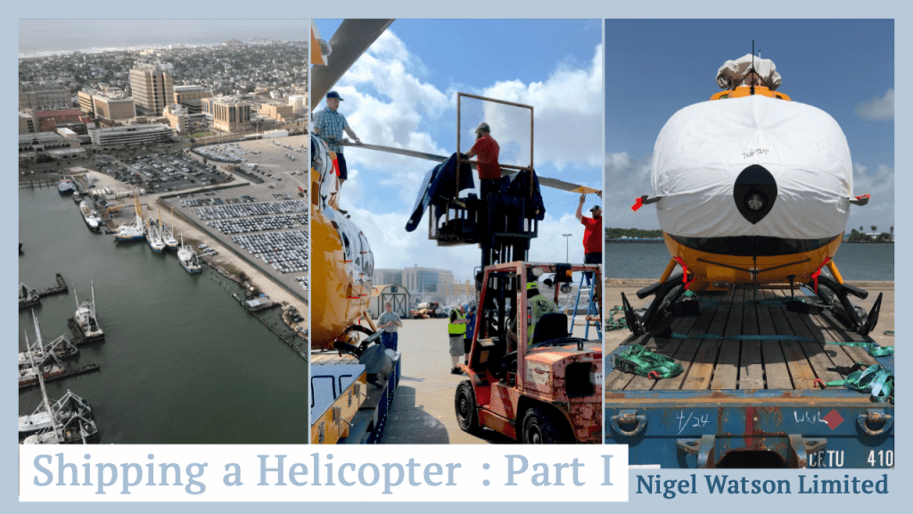 """Hero Image for article """"Shipping a Helicopter Part I"""" - left: aerial view of Galveston port, middle: H145 blade removal with fork lift, right: front view of H145 on dolly to be shipping with covers on."""